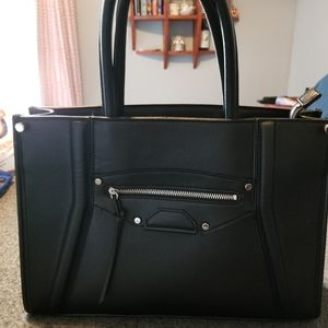 H&M Structured Black Tote Bag Purse Zippered